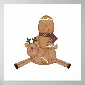 flying reindeer gingerbread man print
