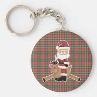 flying reindeer santa claus basic round button keychain