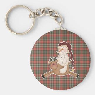 flying reindeer santa snowman basic round button keychain