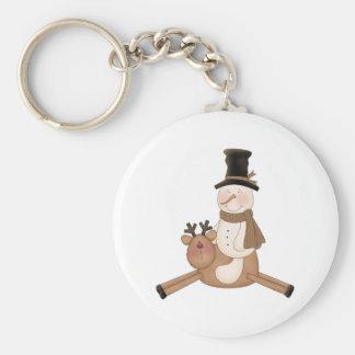 flying reindeer snowman basic round button keychain