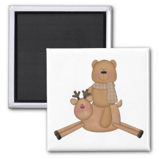 flying reindeer teddy bear 2 inch square magnet
