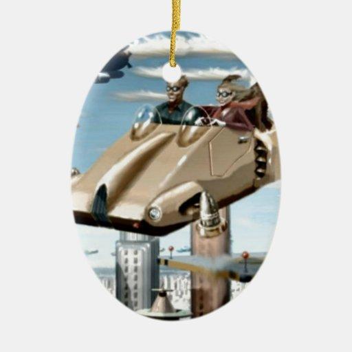 Flying Retro Future Car Christmas Tree Ornaments