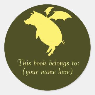 Flying retro piggy bookplate round sticker