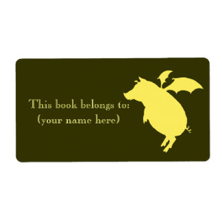 Flying retro piggy bookplate, square personalized shipping label