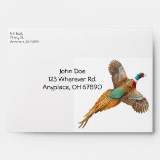 Flying Ring Necked Pheasant Envelope