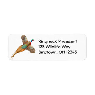 Flying Ring Necked Pheasant Label