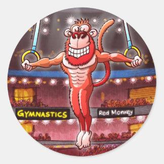 Flying Rings Monkey Classic Round Sticker