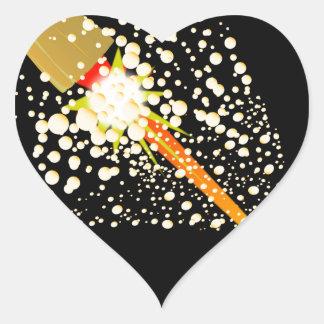 Flying Rocket Powered Cork Heart Sticker
