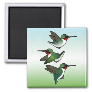 Flying Ruby-throated Hummingbird 2 Inch Square Magnet