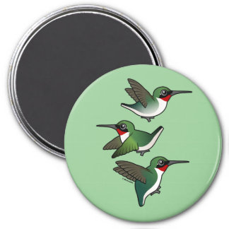 Flying Ruby-throated Hummingbird 3 Inch Round Magnet