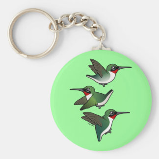 Flying Ruby-throated Hummingbird Basic Round Button Keychain