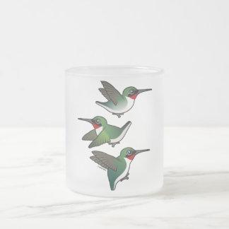 Flying Ruby-throated Hummingbird Frosted Glass Coffee Mug