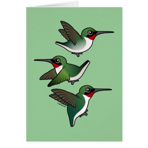 Flying Ruby-throated Hummingbird Greeting Card