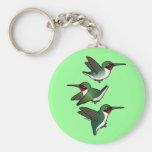 Flying Ruby-throated Hummingbird Basic Round Button Keychain