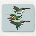 Flying Ruby-throated Hummingbird Mouse Pads