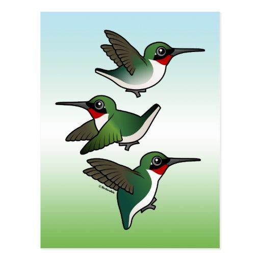 Flying Ruby-throated Hummingbird Postcard