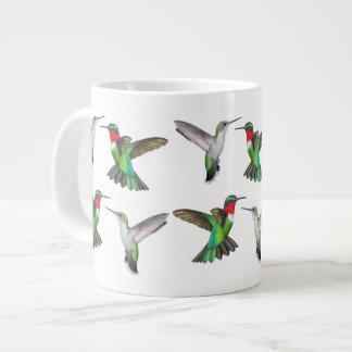 Flying Ruby Throated Hummingbirds Mug Jumbo Mug