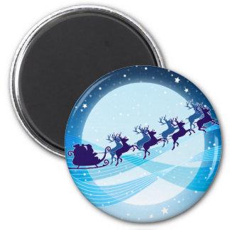 Flying Santa 2 Inch Round Magnet
