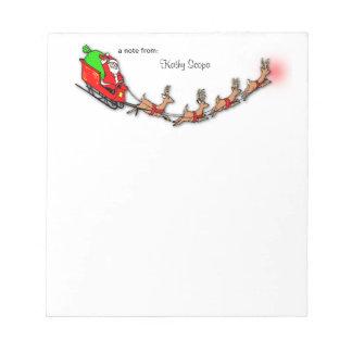 Flying Santa And Reindeer Note Pad