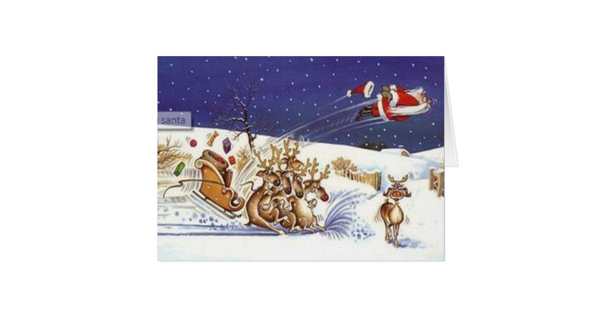 Flying santa beautiful reindeer funny christmas card zazzle for Funny reindeer christmas cards