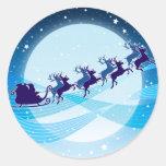 Flying Santa Classic Round Sticker