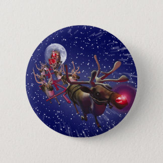 Flying Santa Claus Red Nosed Reindeer Button