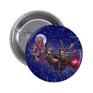 Flying Santa Claus Red Nosed Reindeer Pinback Button