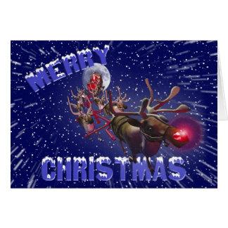 Flying Santa Claus Red Nosed Reindeer Card