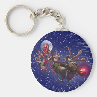 Flying Santa Claus Red Nosed Reindeer Keychain