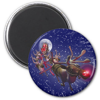 Flying Santa Claus Red Nosed Reindeer 2 Inch Round Magnet