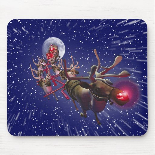 Flying Santa Claus Red Nosed Reindeer Mouse Pad