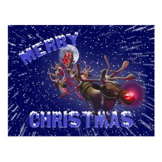Flying Santa Claus Red Nosed Reindeer Postcard