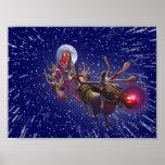 Flying Santa Claus Red Nosed Reindeer Posters