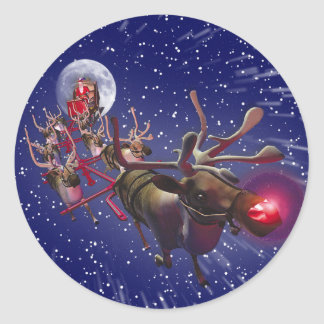 Flying Santa Claus Red Nosed Reindeer Classic Round Sticker