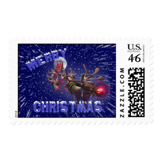 Flying Santa Claus & Rudolph the Red Nose Reindeer Stamp