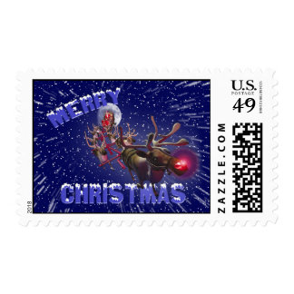 Flying Santa Claus the Red Nose Reindeer Stamp