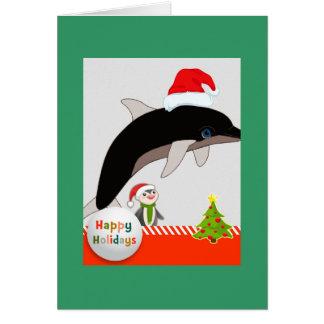 Flying Santa Dolphin Christmas greeting card