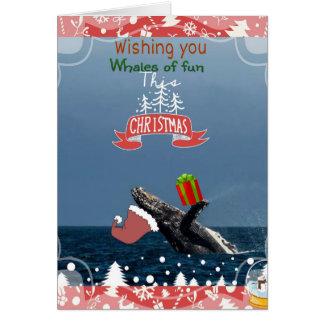 flying Santa humpback Whale holiday card