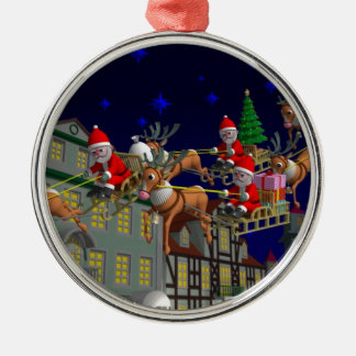 Flying Santa Metal Ornament