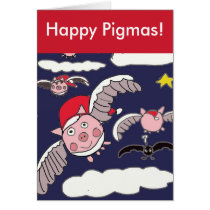 Flying Santa Pig Happy Pigmas Christmas Card