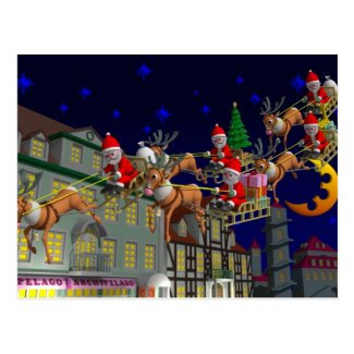 Flying Santa Post Cards