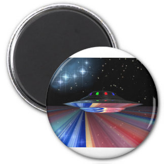 Flying saucer above Saturn Fridge Magnet