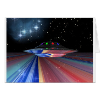 Flying saucer above Saturn Greeting Cards