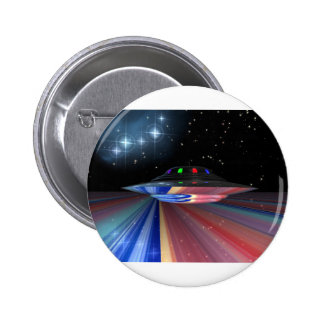 Flying saucer above Saturn Pinback Buttons