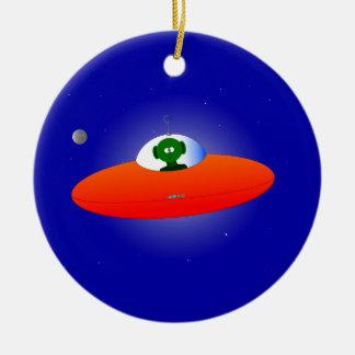 Flying Saucer Ceramic Ornament