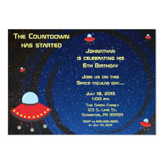 Flying Saucer Countdown Birthday Invitation