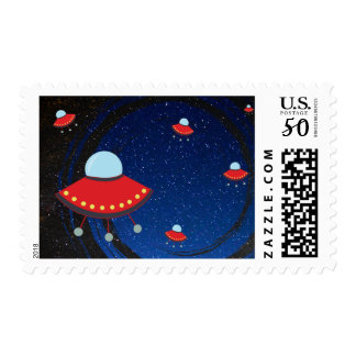 Flying Saucer Countdown Postage Stamps