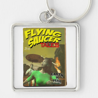 Flying Saucer Tales Fake Pulp Cover Keychain