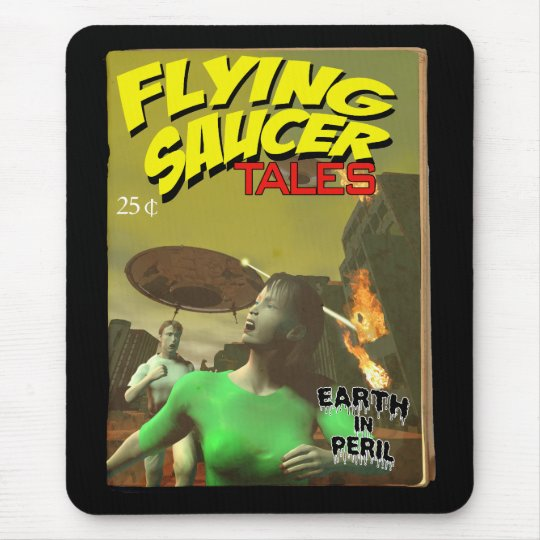 Flying Saucer Tales Fake Pulp Cover Mousepad