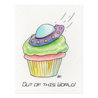 Flying Saucer UFO cupcake Postcard send in peace!